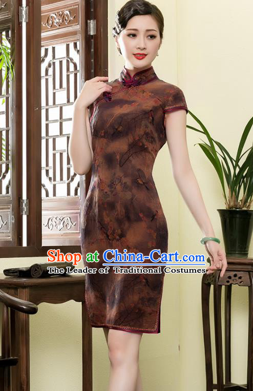 Traditional Chinese National Costume Plated Buttons Brown Silk Qipao Dress, Top Grade Tang Suit Stand Collar Cheongsam for Women