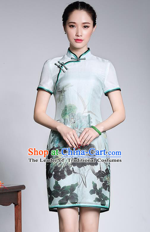 Traditional Chinese National Costume Plated Buttons Qipao Printing Lotus Dress, Top Grade Silk Tang Suit Cheongsam for Women