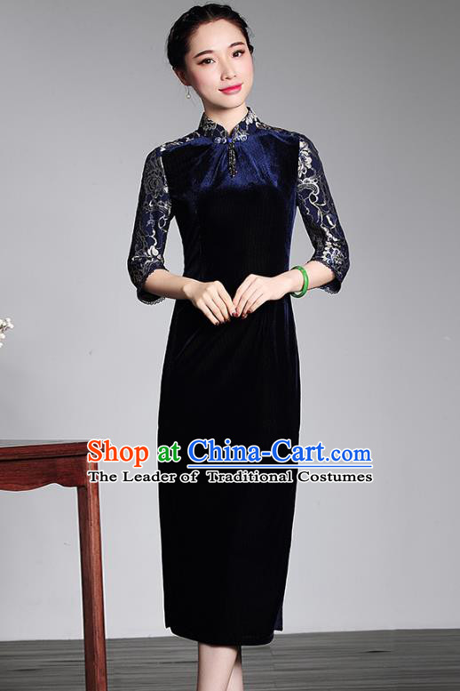 Traditional Chinese National Costume Qipao Blue Velvet Lace Dress, Top Grade Tang Suit Stand Collar Cheongsam for Women