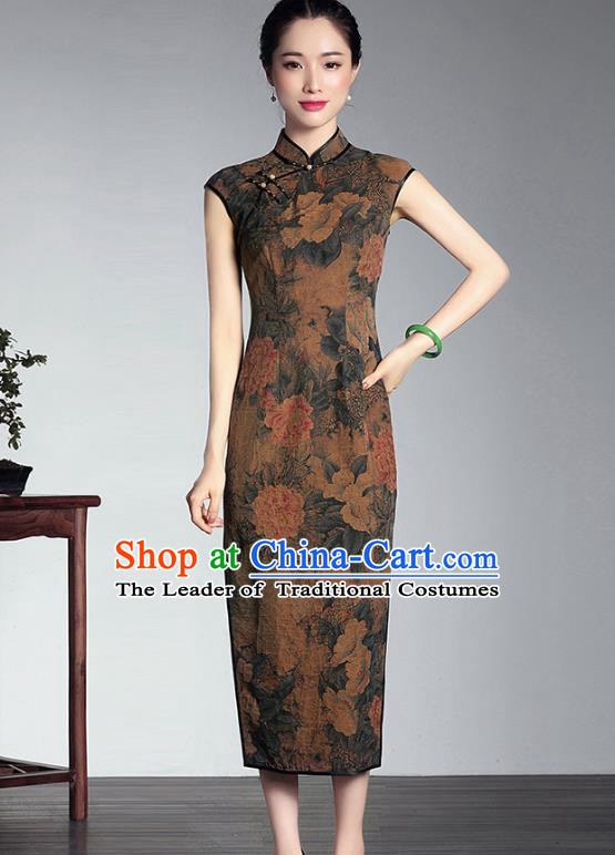 Traditional Ancient Chinese Young Lady Plated Buttons Watered Gauze Printing Cheongsam, Asian Republic of China Qipao Tang Suit Dress for Women