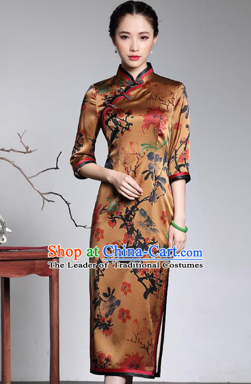 Traditional Ancient Chinese Young Lady Retro Printing Watered Gauze Cheongsam, Asian Republic of China Qipao Tang Suit  Dress for Women