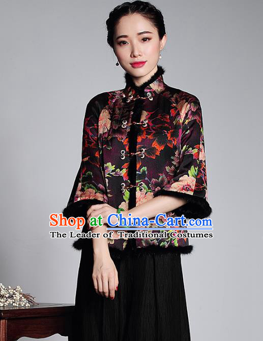 Asian Republic of China Top Grade Plated Buttons Watered Gauze Cheongsam Blouse, Traditional Chinese Tang Suit Qipao Upper Outer Garment for Women