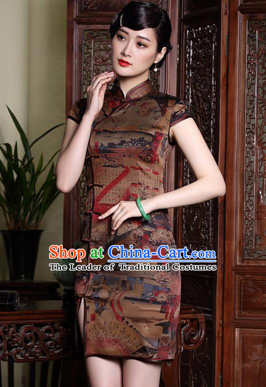 Asian Republic of China Top Grade Plated Buttons Watered Gauze Printing Cheongsam, Traditional Chinese Tang Suit Qipao Dress for Women