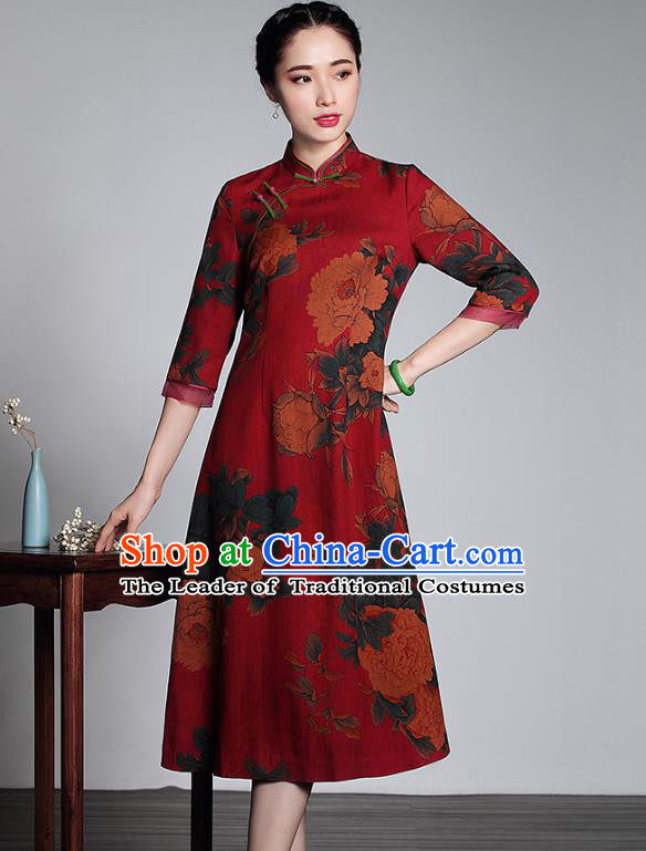 Asian Republic of China Top Grade Plated Buttons Printing Red Watered Gauze Long Cheongsam, Traditional Chinese Tang Suit Qipao Dress for Women