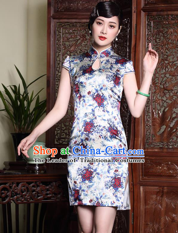 Top Grade Asian Republic of China Plated Buttons Printing Red Flowers Silk Cheongsam, Traditional Chinese Tang Suit Qipao Dress for Women