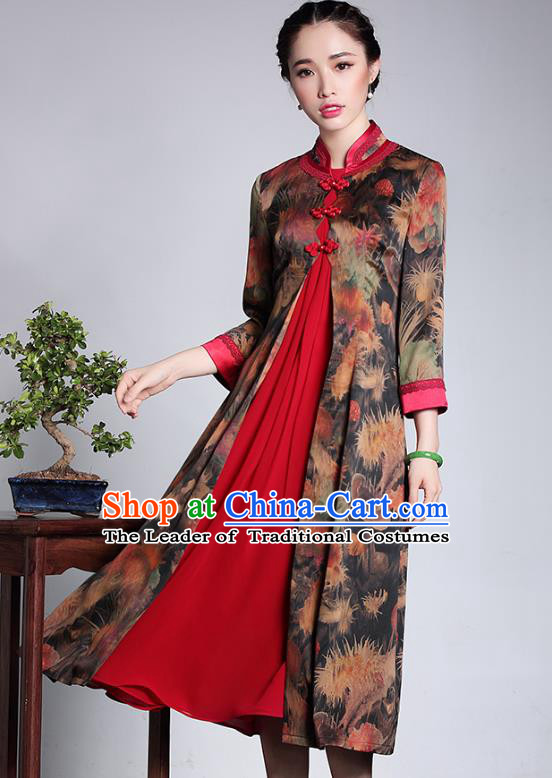 Traditional Ancient Chinese Young Lady Retro Stand Collar Watered Gauze Cheongsam Coat, Asian Republic of China Qipao Tang Suit Dust Coat for Women