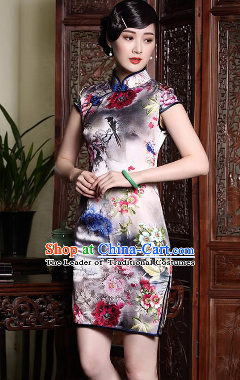 Asian Republic of China Young Lady Retro Stand Collar Printing Silk Cheongsam, Traditional Chinese Qipao Tang Suit Dress for Women