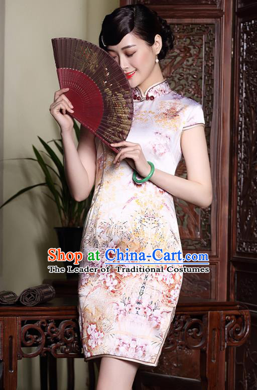 Asian Republic of China Young Lady Retro Stand Collar Silk Cheongsam, Traditional Chinese Printing Qipao Tang Suit Dress for Women