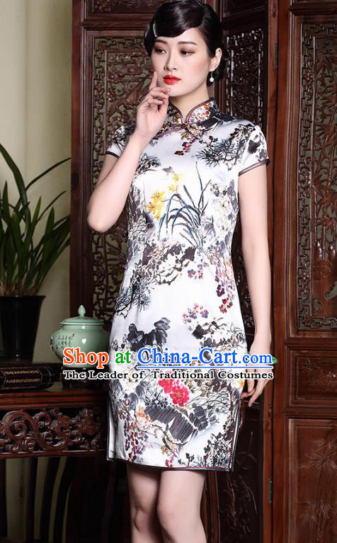 Asian Republic of China Top Grade Silk Plated Buttons Printing Cheongsam, Traditional Chinese Tang Suit Qipao Dress for Women