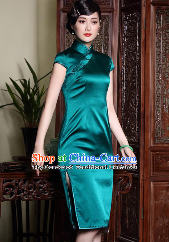 Asian Republic of China Top Grade Plated Buttons Green Silk Cheongsam, Traditional Chinese Tang Suit Qipao Dress for Women