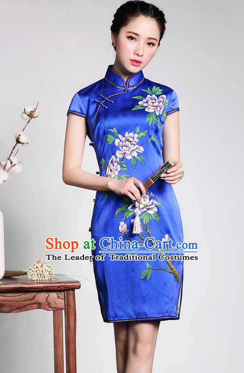 Asian Republic of China Top Grade Plated Buttons Painting Peony Blue Silk Cheongsam, Traditional Chinese Tang Suit Qipao Dress for Women