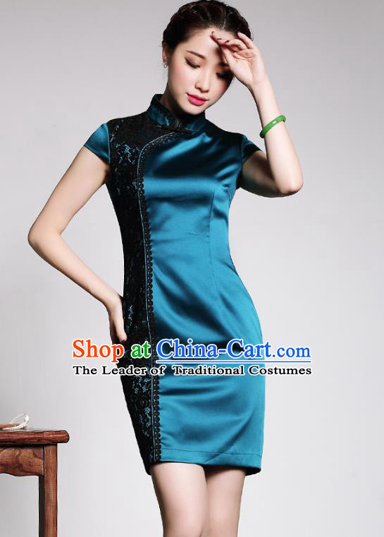 Asian Republic of China Top Grade Plated Buttons Lace Peacock Blue Silk Cheongsam, Traditional Chinese Tang Suit Qipao Dress for Women