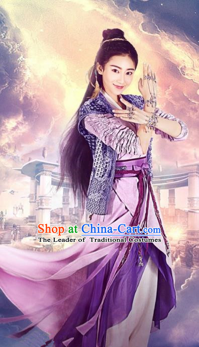 Asian China Tang Dynasty Palace Lady Fairy Costume, Traditional Chinese Ancient Swordswoman Embroidered Hanfu Clothing and Headpiece Complete Set