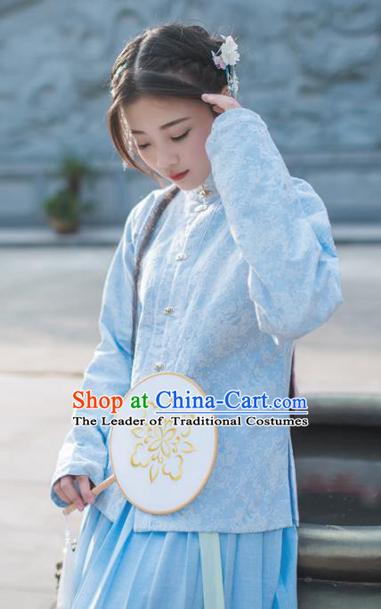Asian China Ming Dynasty Young Lady Costume Blue Blouse, Traditional Chinese Ancient Princess Embroidered Hanfu Clothing for Women