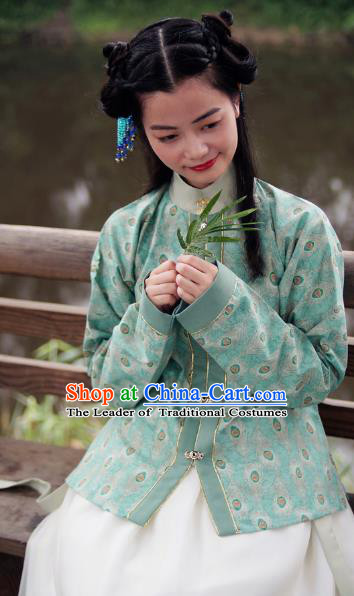 Asian China Ming Dynasty Young Lady Costume Embroidery Green Blouse, Traditional Chinese Ancient Princess Hanfu Clothing for Women