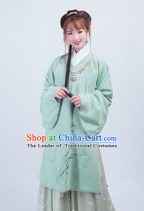 Asian China Ming Dynasty Princess Costume Palace Lady Embroidery Orchids Blouse and Skirt Complete Set