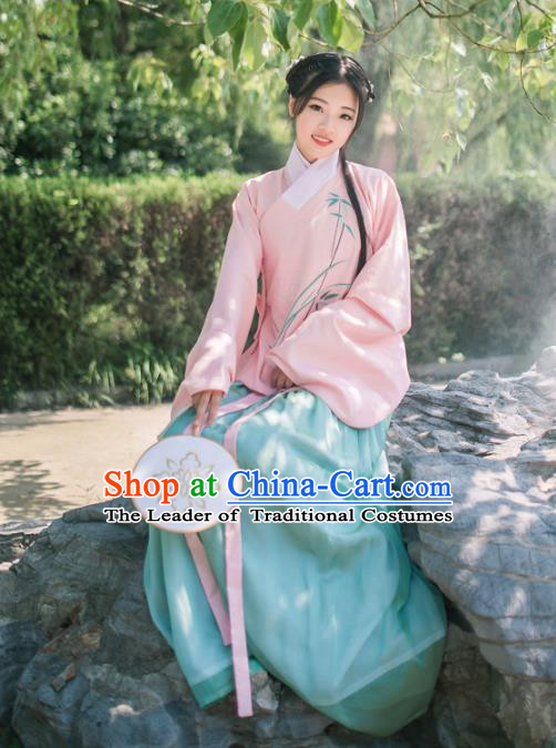 Asian China Ming Dynasty Young Lady Costume Embroidery Pink Blouse and Skirt Complete Set