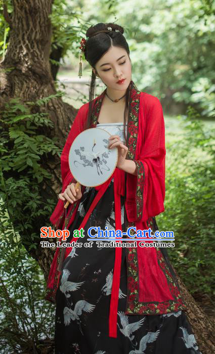 Asian China Song Dynasty Princess Printing Costume, Traditional Ancient Chinese Palace Lady Clothing Complete Set for Women
