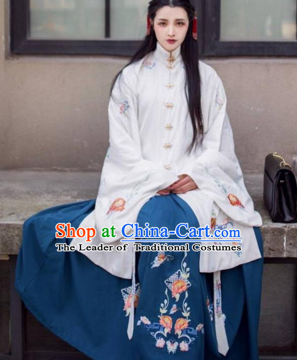 Asian China Ming Dynasty Princess Costume Embroidered Blouse and Blue Skirt, Traditional Ancient Chinese Palace Lady Embroidery Clothing for Women