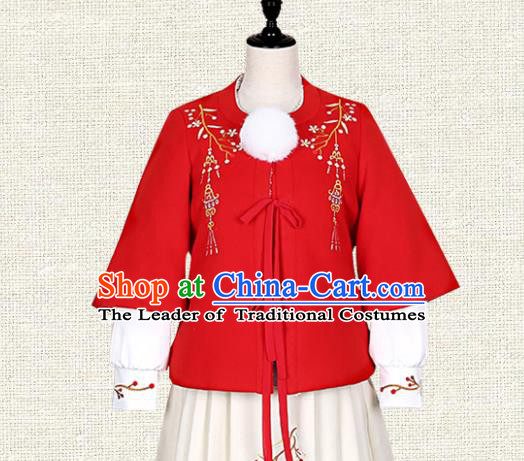 Asian China Ming Dynasty Young Lady Costume Red Embroidered Blouse, Traditional Ancient Chinese Princess Embroidery Hanfu Clothing for Women