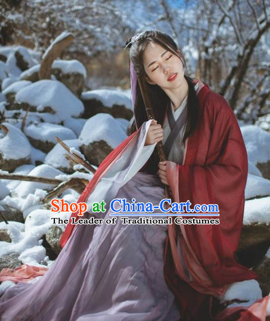Asian China Jin Dynasty Young Lady Costume Red Cardigan Complete Set, Traditional Ancient Chinese Princess Elegant Hanfu Clothing for Women