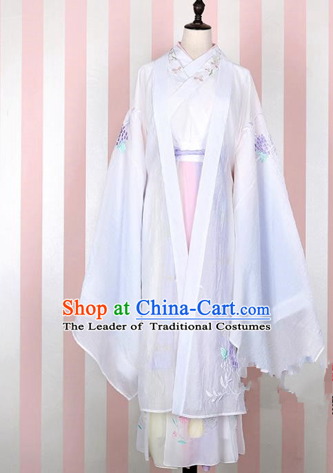 Asian China Han Dynasty Young Lady Embroidered Costume White Wide Sleeve Cardigan, Traditional Ancient Chinese Princess Elegant Hanfu Embroidery Clothing for Women