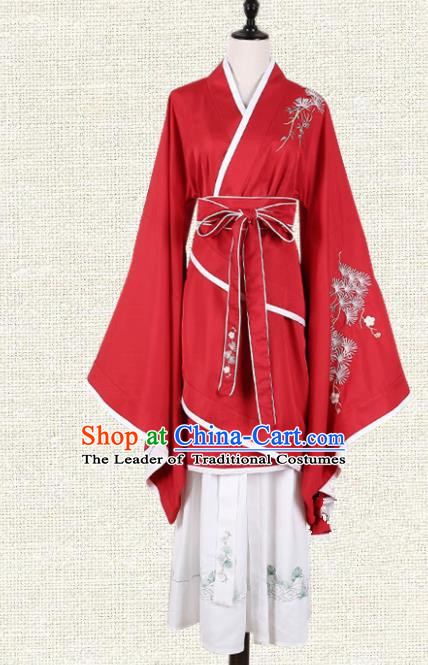 Asian China Han Dynasty Young Lady Embroidered Costume Red Curve Bottom, Traditional Ancient Chinese Princess Elegant Hanfu Clothing for Women