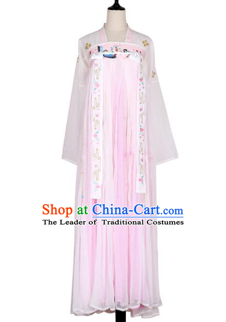 Asian China Tang Dynasty Palace Lady Embroidered Clothing Complete Set, Traditional Ancient Chinese Princess Elegant Hanfu for Women