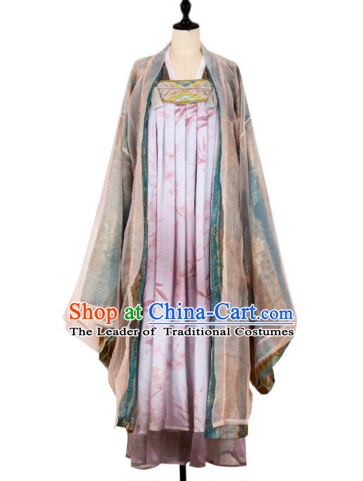 Asian China Tang Dynasty Imperial Concubine Clothing, Traditional Ancient Chinese Palace Princess Hanfu Clothing for Women