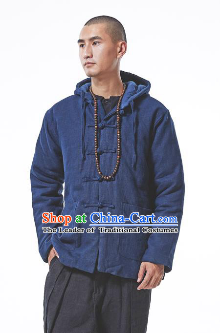 Asian China National Costume Blue Cotton-padded Jacket, Traditional Chinese Tang Suit Plated Buttons Coat Clothing for Men