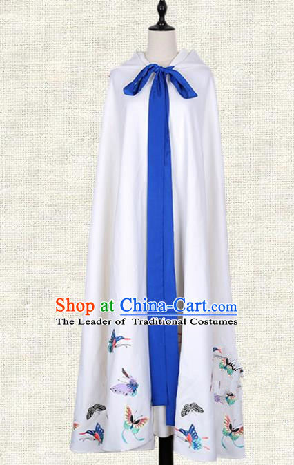 Asian China Tang Dynasty Princess Clothing Embroidered Butterfly White Cape, Traditional Ancient Chinese Palace Lady Hanfu Mantle for Women