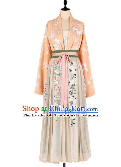 Asian China Song Dynasty Princess Embroidered Clothing Complete Set, Traditional Ancient Chinese Palace Lady Hanfu Costume for Women