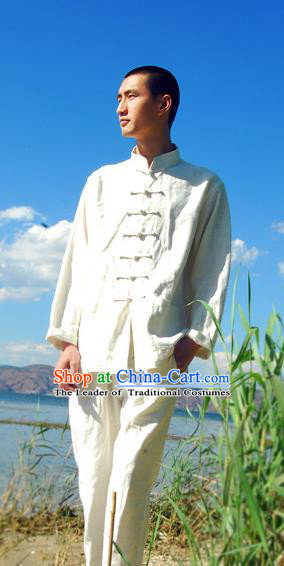 Asian China National Costume White Linen Stand Collar Shirts, Traditional Chinese Tang Suit Plated Buttons Upper Outer Garment Clothing for Men
