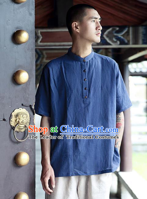 Asian China National Costume Blue Linen Stand Collar T-Shirts, Traditional Chinese Tang Suit Coconut Buttons Upper Outer Garment Clothing for Men
