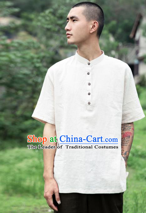 Asian China National Costume White Linen Stand Collar T-Shirts, Traditional Chinese Tang Suit Coconut Buttons Upper Outer Garment Clothing for Men