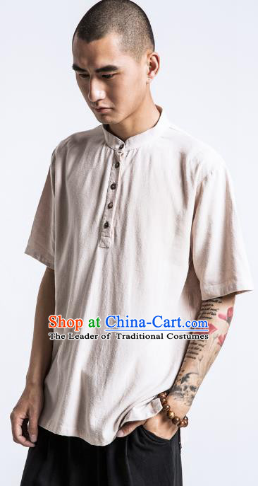 d6c61be7605 Asian China National Costume Beige Linen Stand Collar T-Shirts ...