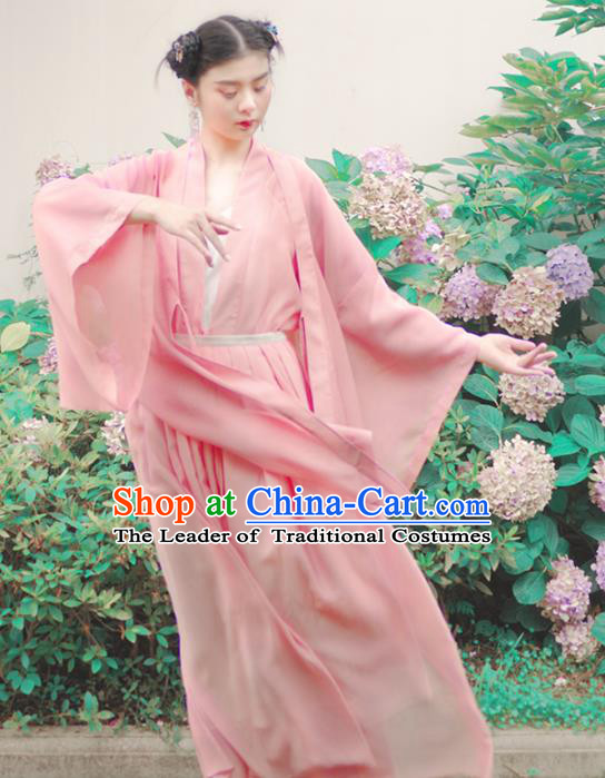 Asian China Han Dynasty Palace Lady Costume Princess Pink Wide Sleeve Cardigan for Women