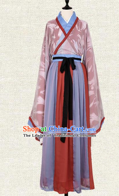 Asian China Jin Dynasty Swordsman Printing Red Clothing Complete Set, Traditional Ancient Chinese Palace Lady Hanfu Costume for Women