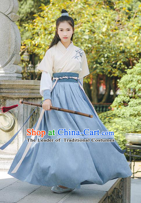 Asian China Han Dynasty Swordswoman Embroidered Costume, Traditional Ancient Chinese Elegant Hanfu Clothing for Women
