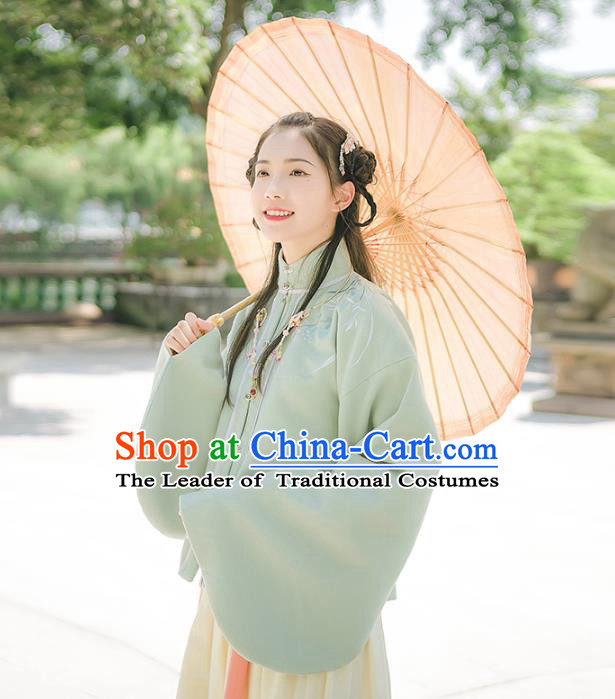 Asian China Ming Dynasty Palace Lady Embroidered Costume, Traditional Ancient Chinese Princess Elegant Hanfu Green Sleeve Placket Blouse for Women