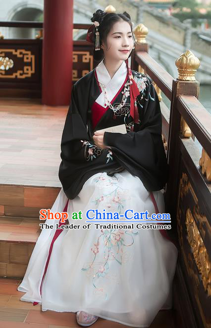 Asian China Ming Dynasty Princess Costume Embroidered Black Blouse and White Skirt, Traditional Ancient Chinese Elegant Princess Hanfu Clothing for Women