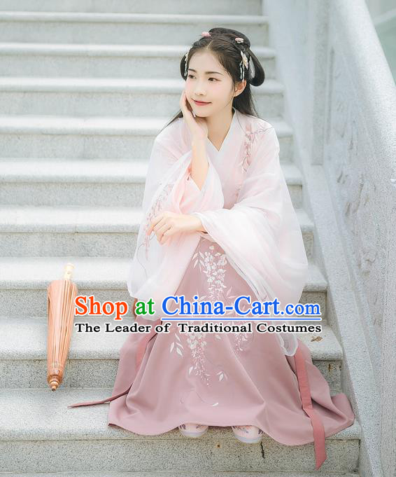 Asian China Han Dynasty Palace Lady Costume Embroidery Pink Blouse and Purple Skirt, Traditional Ancient Chinese Princess Elegant Hanfu Clothing for Women