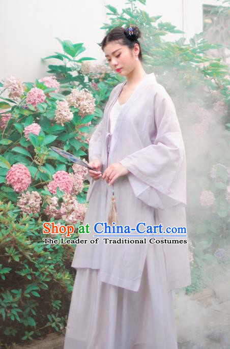 Asian China National Costume Hanfu Grey Silk Cardigan, Traditional Chinese Tang Suit Cheongsam Cape Clothing for Women