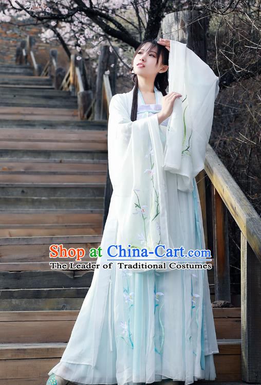 Asian China Tang Dynasty Princess Costume Wide Sleeve Cardigan, Traditional Ancient Chinese Palace Lady Embroidered Hanfu Clothing for Women