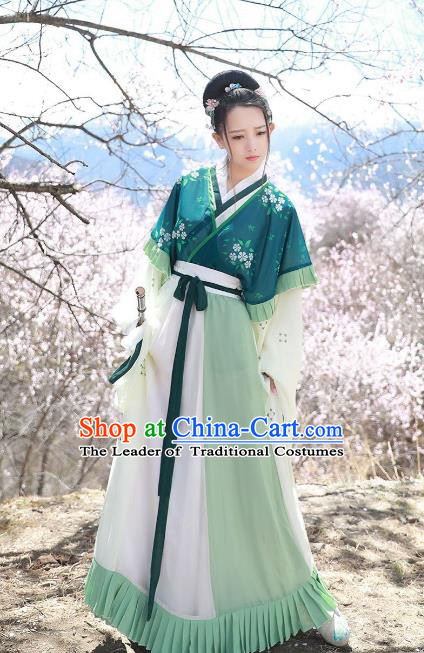 Asian China Jin Dynasty Princess Costume Complete Set, Traditional Ancient Chinese Palace Lady Hanfu Clothing for Women