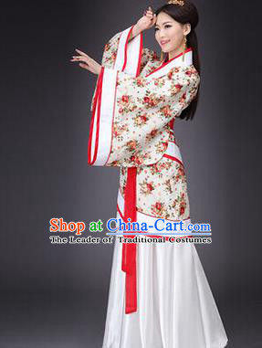 Asian China Ancient Han Dynasty Palace Lady Costume, Traditional Chinese Hanfu Embroidered Curve Bottom Clothing for Women