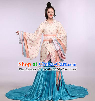 Asian China Ancient Han Dynasty Palace Lady Costume, Traditional Chinese Imperial Empress Tailing Embroidered Curve Bottom Clothing for Women