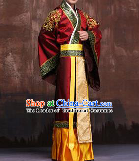 Traditional Ancient Chinese Emperor Royal Highness Costume, Asian Chinese Han Dynasty Majesty Clothing for Men