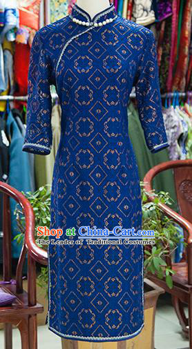 Traditional Ancient Chinese Republic of China Royalblue Cheongsam, Asian Chinese Chirpaur Embroidered Qipao Dress Clothing for Women