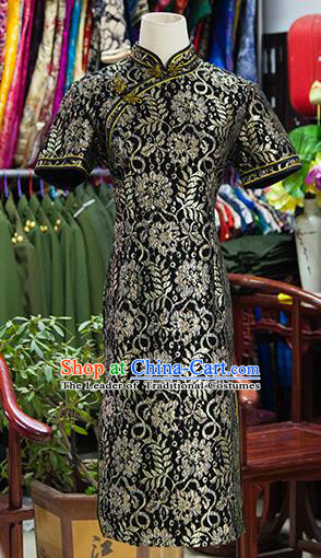 Traditional Ancient Chinese Republic of China Embroidered Cheongsam, Asian Chinese Chirpaur Black Qipao Dress Clothing for Women